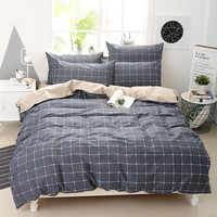 YUXIN 全棉简约条格 三件套 四件套 纯棉 斜纹印花套件 婚庆套件 床单 被套 床上用品 格琪维灰 1.5米床适用